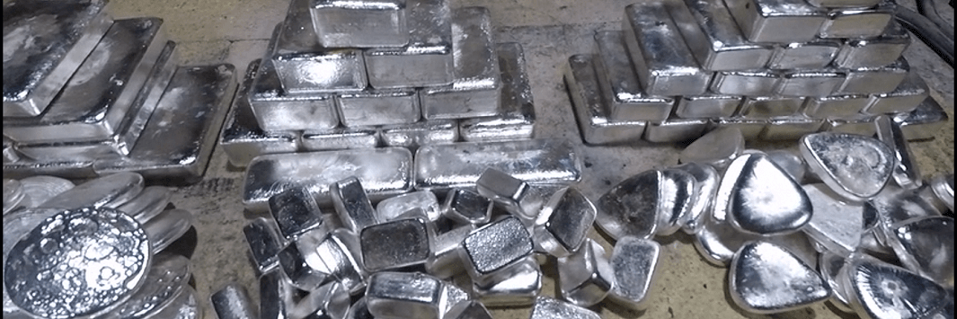 Big stack of hand poured silver bars by shinybars